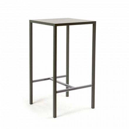 Tavolo da Bar Quadrato in Metallo Verniciato da Esterno Made in Italy - Fada