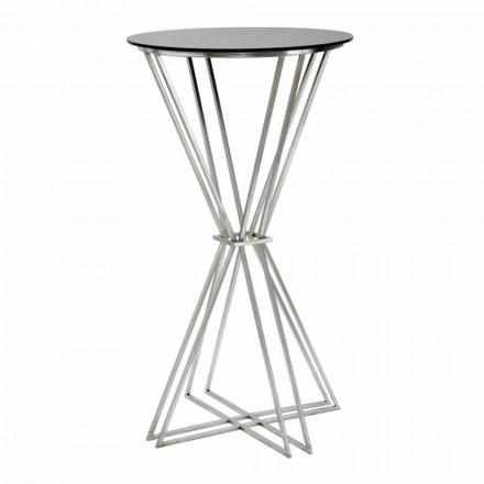 Tavolo da Bar Rotondo di Design Moderno in Ferro e Vetro - Benita