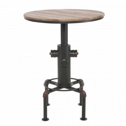 Tavolo da Bar Rotondo Stile Industrial di Design in Ferro e Legno - Niv