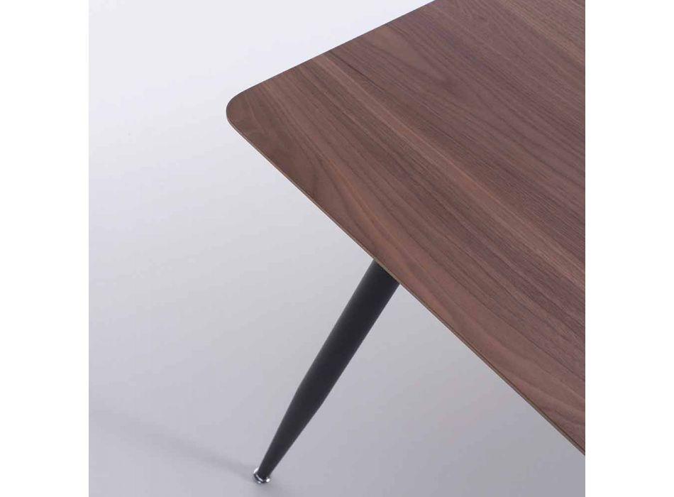 Tavolo da Cucina di Design Moderno in Mdf e Metallo Nero Opaco – Foulard