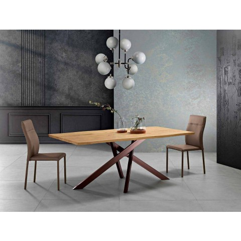 Tavolo da cucina in legno massellato di design made in Italy, Dionigi