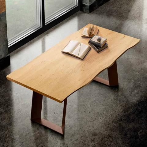 Tavolo da cucina in legno massellato e metallo made in Italy, Flora