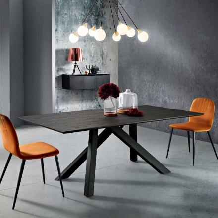 Tavolo da cucina in legno MDF e metallo fatto in Italia, Wilmer