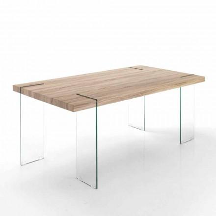 Tavolo da Cucina Moderno con Piano in Mdf e Base in Vetro - Joey
