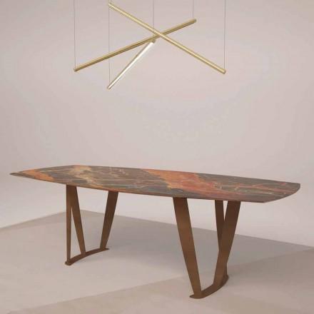 Tavolo di Lusso Rettangolare in Marmo Ombra di Caravaggio e Metallo – Naruto