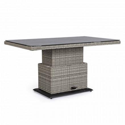 Tavolo da Esterno in Ceramica e Fibra Sintetica, Altezza Regolabile - Claire