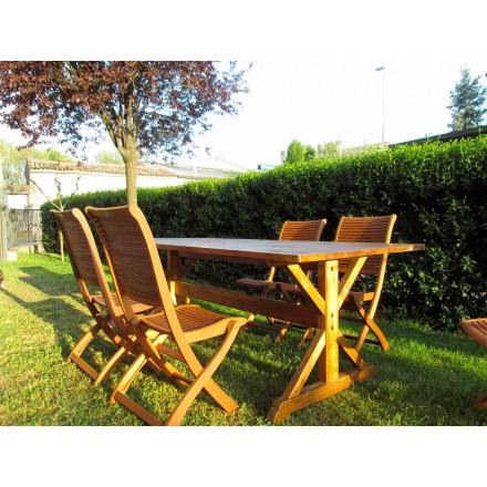 Tavolo da Esterno in Legno di Abete in Stile Rustico Made in Italy – Clinio
