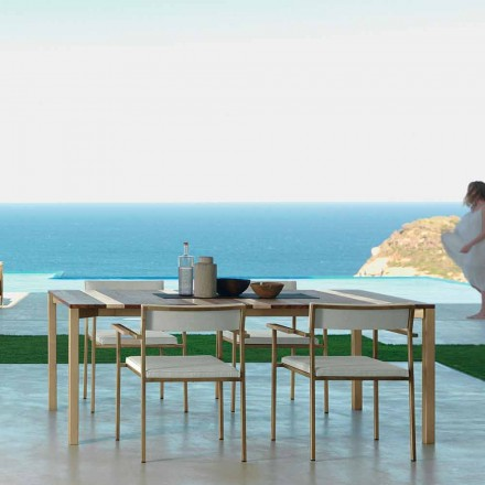 Tavolo da esterno moderno in legno e inox 200x100 Casilda Talenti