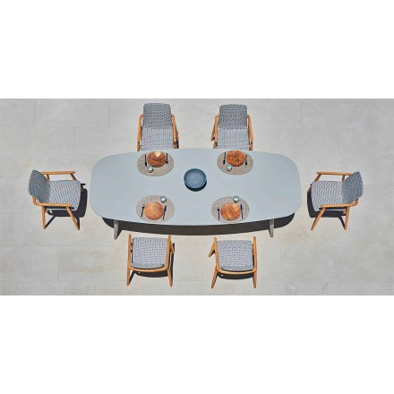 Tavolo da esterno Varaschin Ellisse di design in alluminio colorato