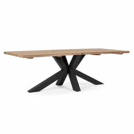 Tavolo da Giardino con Piano in Legno di Teak di Design Homemotion - Cowen