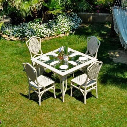 Tavolo da giardino di design con piano in vetro Romeo, fatto a mano