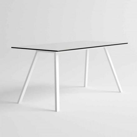 Tavolo da Giardino in Alluminio Bianco e HPL Laminato Design Moderno - Oceania2
