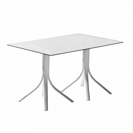 Tavolo da Giardino Lusso in Alluminio e Hpl Bianco o Canna di Fucile - Filomena