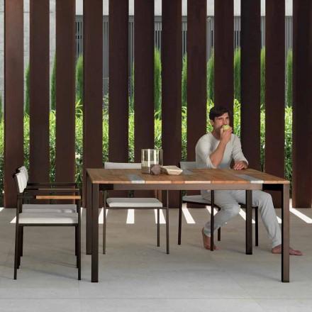 Tavolo da giardino in legno e inox 150x150 cm Casilda Talenti