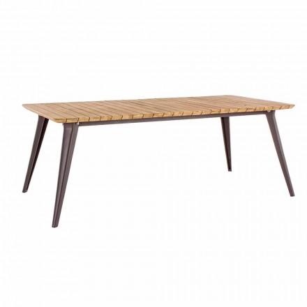 Tavolo da Giardino Piano in Legno di Teak e Base Alluminio Homemotion - Amabel