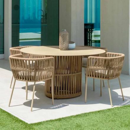 Tavolo da giardino tondo in alluminio Cliff Talenti,design by Palomba