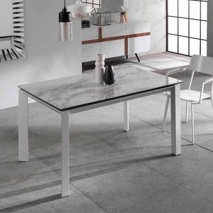 Tavolo da pranzo allungabile con piano ceramica effetto marmo, Nosate