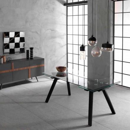 Tavolo allungabile fino 260 cm, piano in vetro e base frassino,Empoli