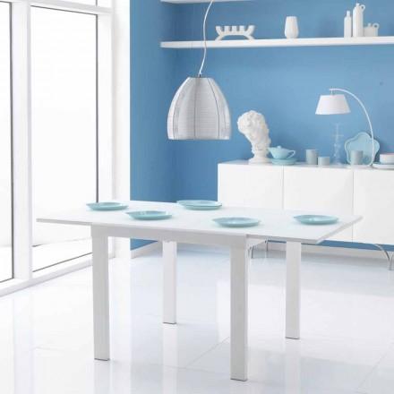 Tavolo da pranzo allungabile con piano in vetro Teo