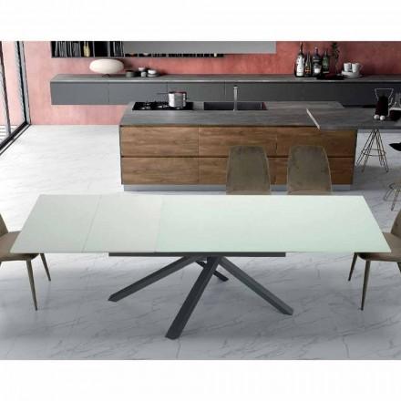 Tavolo da Pranzo Allungabile Fino 260 cm in Vetro di Design Moderno - Gabicce