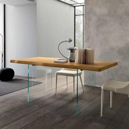 Tavolo da Pranzo Allungabile Fino 280 cm in Legno e Vetro Made in Italy - Focus