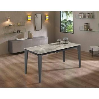 Tavolo da Pranzo Allungabile Fino a 170 cm in Metallo e Ceramica Moderno - Syrta