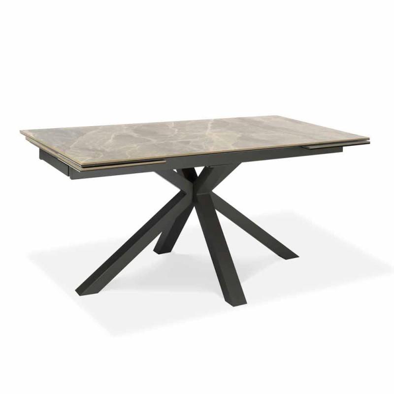 Tavolo da Pranzo Allungabile Fino a 240 cm in Metallo e Ceramica - Laryssa