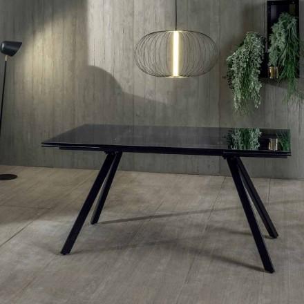 Tavolo da Pranzo Allungabile Fino a 240 cm in Vetro Temperato Nero Fumè - Fener
