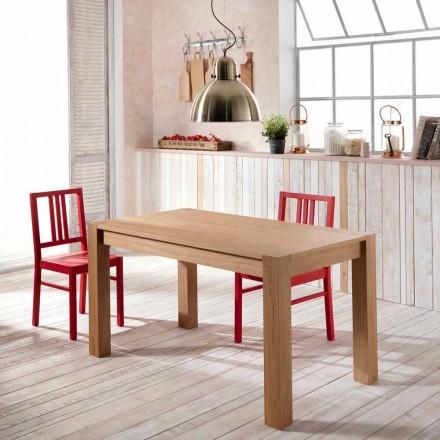 Tavolo da pranzo allungabile in legno di rovere Fedro, made in Italy