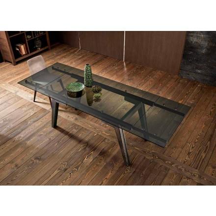 Tavolo da pranzo allungabile in vetro fumè fatto in Italia, Dimitri