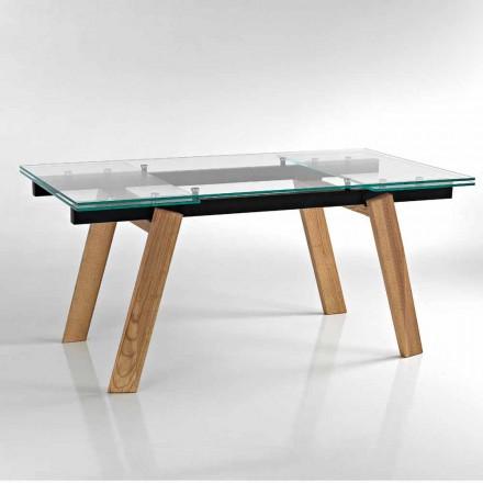 Tavolo da pranzo allungabile in vetro moderno fatto in Italia, Azad