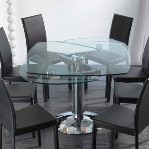 Tavolo da pranzo allungabile in vetro temperato trasparente Onda
