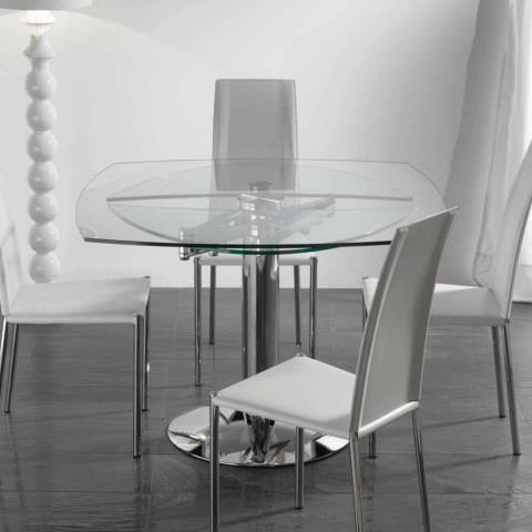 Tavoli Da Pranzo Rotondi In Vetro.Tavolo Da Pranzo Allungabile In Vetro Temperato Trasparente Onda