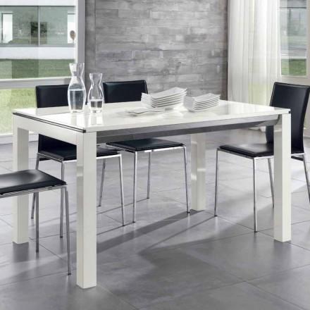 Tavolo da Pranzo Allungabile Legno Noce Tanganika Laccato Bianco Lucido – Ketla