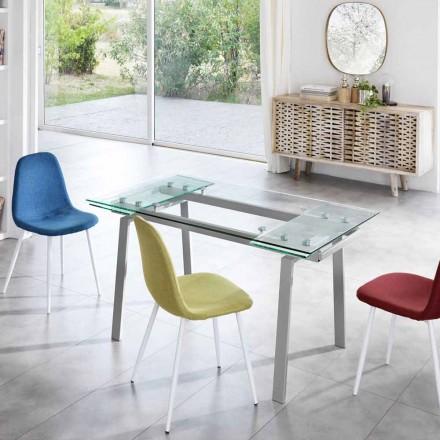 Tavolo da pranzo allungabile moderno in vetro, L140/200x P80 cm,Nardo