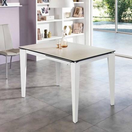 Tavolo da pranzo allungabile vetro-ceramica, 120/170xP80 cm, Bino