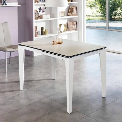 Tavolo Da Pranzo Allungabile Vetro.Tavolo Da Pranzo Allungabile Vetro Ceramica 120 170xp80 Cm Bino