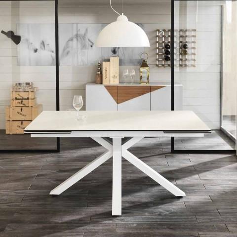 Tavolo da pranzo allungabile vetro-ceramica, l.160/240xp.90 cm, Bacco
