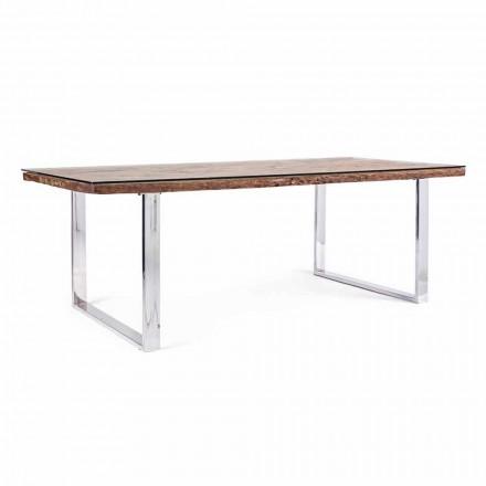 Tavolo da Pranzo con Piano in Legno e Vetro Temperato Homemotion - Blanco