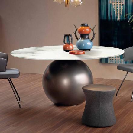 Tavolo da Pranzo con Piano Rotondo in Marmo Opaco Made in Italy - Bonaldo Circus
