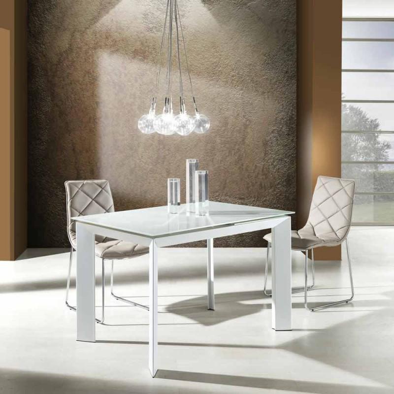 Tavolo Da Pranzo Con Piano Vetro Temperato Verniciato Bianco Zeno