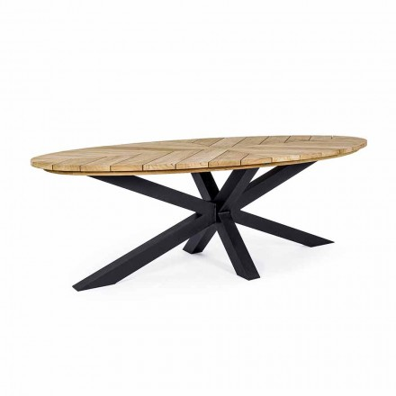 Tavolo da Pranzo da Esterno con Piano Ovale in Teak, Homemotion - Selenia