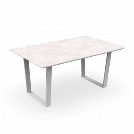 Tavolo da Pranzo da Giardino Moderno in Alluminio e Gres – Alabama Alu Talenti
