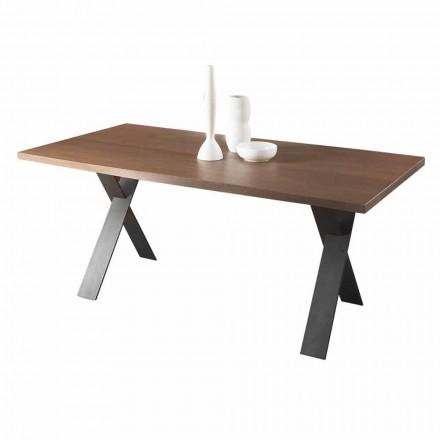 Tavolo da Pranzo Design con Piano in Legno Rovere o Noce Made in Italy - Lucas