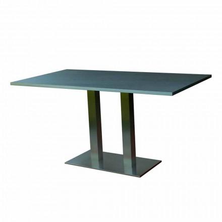 Tavolo da pranzo design con piano in pietra laminato, 160x90cm,Newman