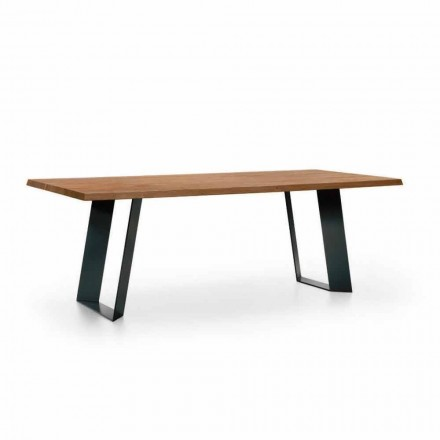Tavolo da Pranzo Design in Abete con Gambe in Metallo Nero Made in Italy - Kroma