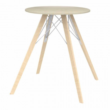 Tavolo da Pranzo Tondo di Design in Legno e Dekton 4 Pezzi - Faz Wood by Vondom