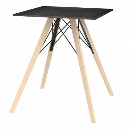 Tavolo da Pranzo Design in Legno e Dekton Quadrato 4 Pezzi - Faz Wood by Vondom