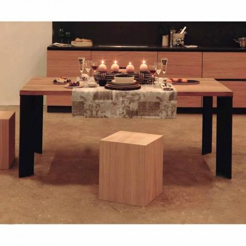Tavolo da pranzo design in noce naturale design, L200xP100cm, Yvonne