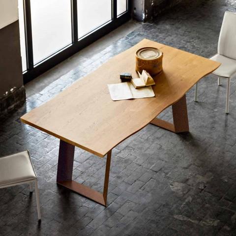 Tavolo da pranzo design moderno 100x200 cm in legno e metallo Flora